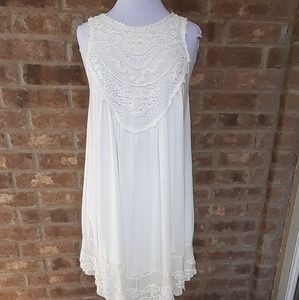 Altar'd State White Semi-sheer Sleeveless Dress